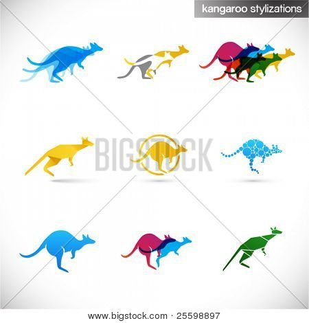 kangaroo stylized illustrations - various creative abstract signs of australian animal