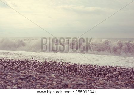 Sea Wave Surf. Sea Waves With A Lot Of Sea Foam. Toned.