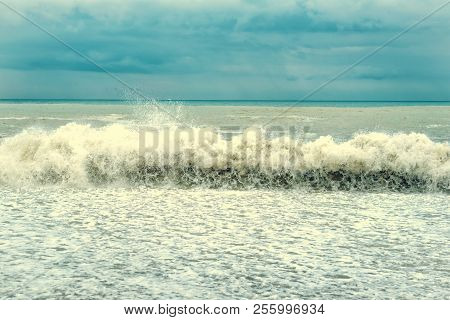 Sea Wave Surf. Sea Waves With A Lot Of Sea Foam. Beautiful Blue Waves With Lot Of Sea Vintage Tonet