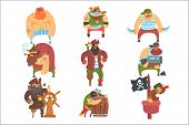 Scruffy Pirates Cartoon Characters Set. Cool Filibuster Cut-Throats Flat Vector Childish Illustrations Isolated poster