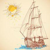 Vector sailing boat poster