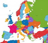Colorful Europe map with countries and capital cities poster