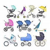 Stroller vector baby-stroller and kids buggy with pram for children or childish carriage illustration set of baby-buggy for newborn with wheel and handle isolated on white background poster