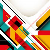 Illustrated graphic with colorful geometric shapes. Vector illustration. poster