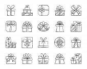 Gift box charcoal icons set. Outline sign kit of bounty box. Present linear icon collection includes surprise, package, prize. Simple hand drawn gift box symbol isolated on white. Vector Illustration poster