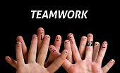 Happy group of finger smileys 3 (teamwork theme) poster