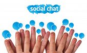 Happy group of finger smileys with social chat sign and speech bubbles poster