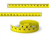 Yellow measuring tape isolated on white background poster