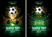 Football poster with champion cup and  place for your text poster