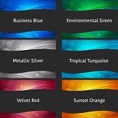 Abstract backgrounds collection - for header and footer ready to use - blue, green, silver, metallic, red, orange poster