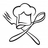 chef hat with spoon and fork poster