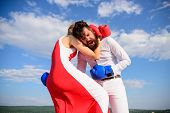 Struggle for equality rights. Exact hit. Learn how to defend yourself. Man and woman boxing gloves fight blue sky background. She knows how to defend herself. Girl confident in her strength and power. poster