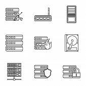 Computer setup icons set. Outline illustration of 9 computer setup icons for web poster