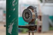 Old Manual Operated Hand Crank Air Raid Alarm Siren, hand operated siren. poster