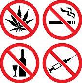 "Forbidding  Vector Signs ""No Smoking"", ""No Drugs"", ""No Cannabis""  and ""No Alcohol"" poster"