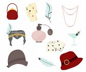 Retro fashion 1920s 1930s accessories with women hats, clothes, jewelry vector illustration. poster