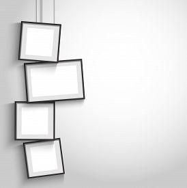 Vector 3d Modern Blank Black Hanging Frames