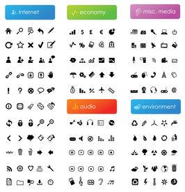 150 icônes vectorielles divisent en cinq catégories (internet, économie, audio, médias divers et environnement