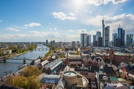 View Of Skyline At Center Business District In Frankfurt, Germany. Frankfurt Is Financial Business C