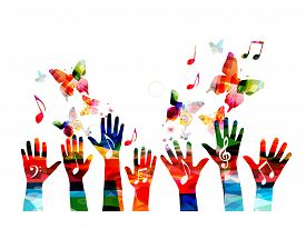 Music Colorful Background With Music Notes And Hands Vector Illustration. Artistic Music Festival Po