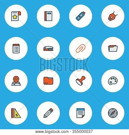 Stationary Icons Colored Line Set With Bookmark, Vector Pencil, Notebook And Other Nib Elements. Iso