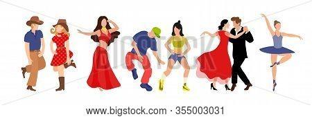 Vector Set Of Clip-art Professional Dance Couple Dancing Tango, Country, Hip Hop, Belly Dance, Balle