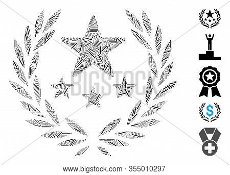 Line Mosaic Based On Triumph Emblem Icon. Mosaic Vector Triumph Emblem Is Composed With Random Line