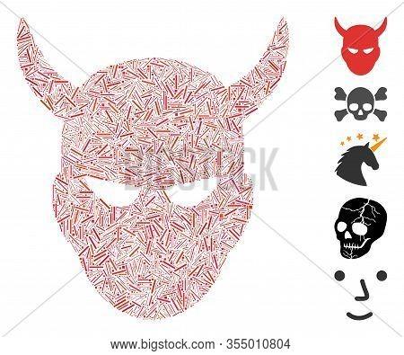 Hatch Mosaic Based On Daemon Head Icon. Mosaic Vector Daemon Head Is Created With Randomized Hatch S