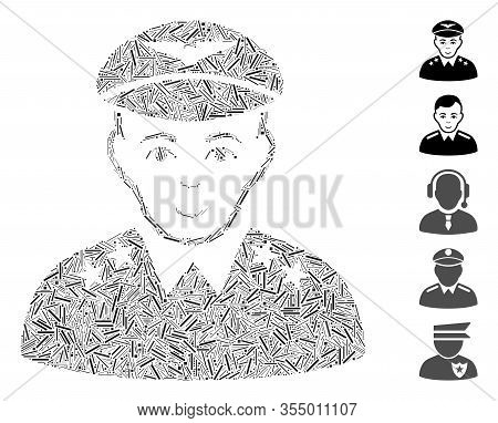 Hatch Collage Based On Military Pilot Officer Icon. Mosaic Vector Military Pilot Officer Is Designed