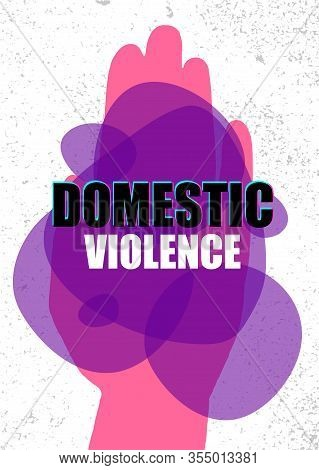 Domestic Violence Pop Art Banner On Motion Glitch Background. Abstract Violence Domestic Halftone Ve