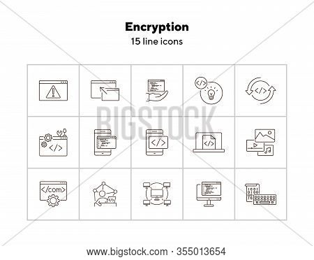 Encryption Line Icons. Set Of Line Icons. Computer Network, Firewall, Coding. Encryption Concept. Ve