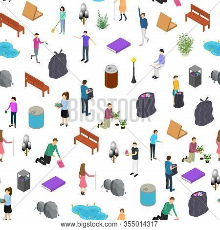 People Sorting Waste Rubbish Concept Seamless Pattern Background On A White 3d Isometric View. Vecto