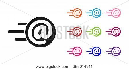 Black Mail And E-mail Icon Isolated On White Background. Envelope Symbol E-mail. Email Message Sign.