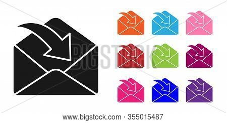 Black Envelope Icon Isolated On White Background. Received Message Concept. New, Email Incoming Mess