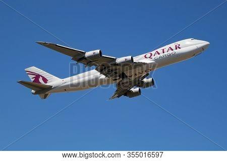 Findel - Luxembourg / July 8, 2018: Qatar Airways Cargo Boeing 747-8 Jumbo Jet A7-bga Cargo Plane De