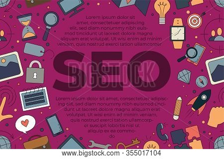 Seo Icons Set Composition With Seo Text. Simple Color Icons For Seo, Business And Social Media Marke