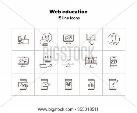 Web Education Line Icon Set. Computer, Tutorial, Lesson. Online Course Concept. Can Be Used For Topi