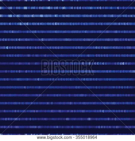 Classic Blue Spliced Vector Broken Pixel Texture. Variegated Mottled Dotted Line Background. Seamles