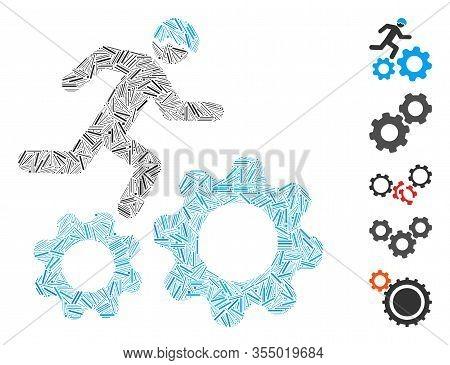 Line Mosaic Based On Running Developer Over Gears Icon. Mosaic Vector Running Developer Over Gears I