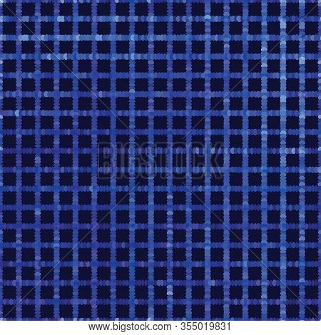 Classic Blue Spliced Vector Criss Cross Grid Texture. Variegated Mottled Dotted Background. Seamless