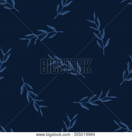 Dark Classic Blue Watercolor Leaf Vector Texture. Seamless Tossed Simple Pattern. Variegated Nature