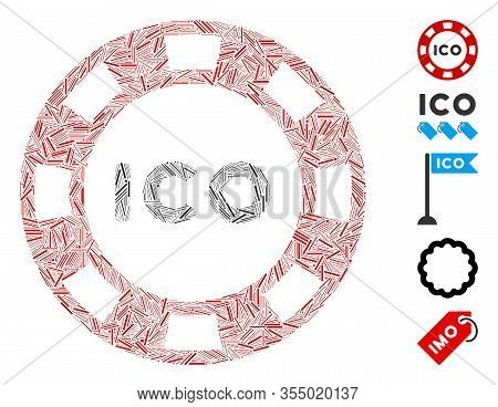 Line Mosaic Based On Ico Token Icon. Mosaic Vector Ico Token Is Created With Scattered Line Items. B