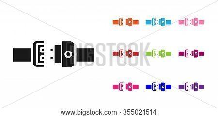 Black Safety Belt Icon Isolated On White Background. Seat Belt. Set Icons Colorful. Vector Illustrat