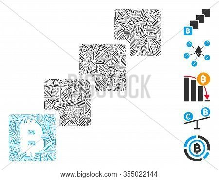 Line Mosaic Based On Bitcoin Blockchain Icon. Mosaic Vector Bitcoin Blockchain Is Created With Scatt