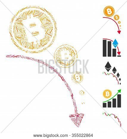 Line Mosaic Based On Bitcoin Deflation Trend Icon. Mosaic Vector Bitcoin Deflation Trend Is Designed