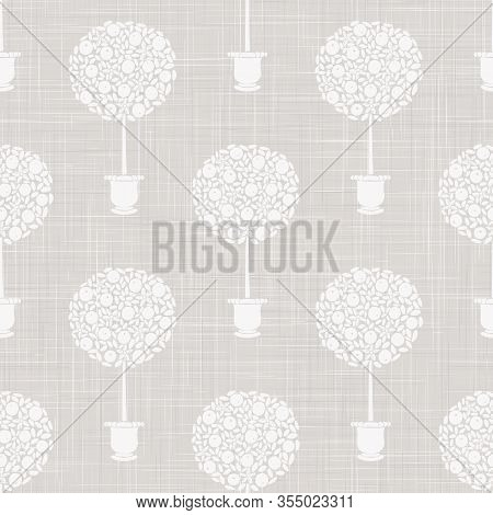 Gray French Linen Texture Background Printed With White Topiary Tree. Natural Ecru Summer Country St
