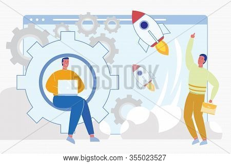Entrepreneurship, Start Up And Business Initiative. Men Cartoon Characters Launching Rocket As Succe