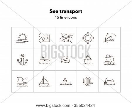 Sea Transport Line Icon Set. Sea Transportation Concept. Vector Illustration Can Be Used For Topics