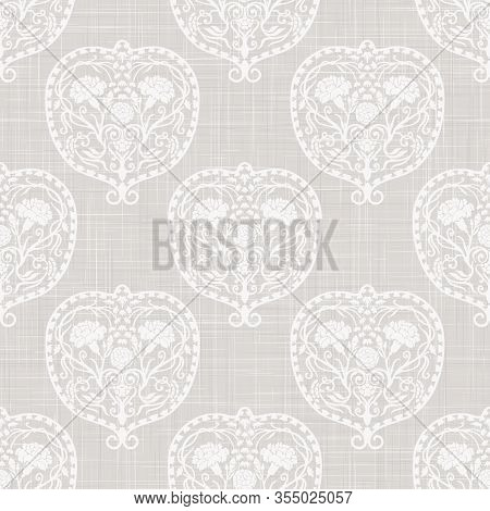 Gray French Linen Texture Background Printed With White Heart Flourish. Natural Ecru Summer Country