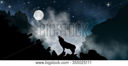 Silhouette Of The Wolf Howling At The Moon At Night In Front Of The Mountains Inside The Mist Clouds